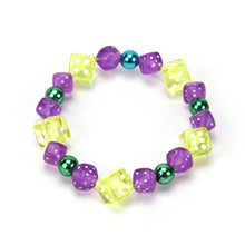 Load image into Gallery viewer, Mardi Gras Dice Bracelet