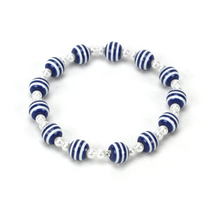 Navy Blue Striped Bead Bracelet