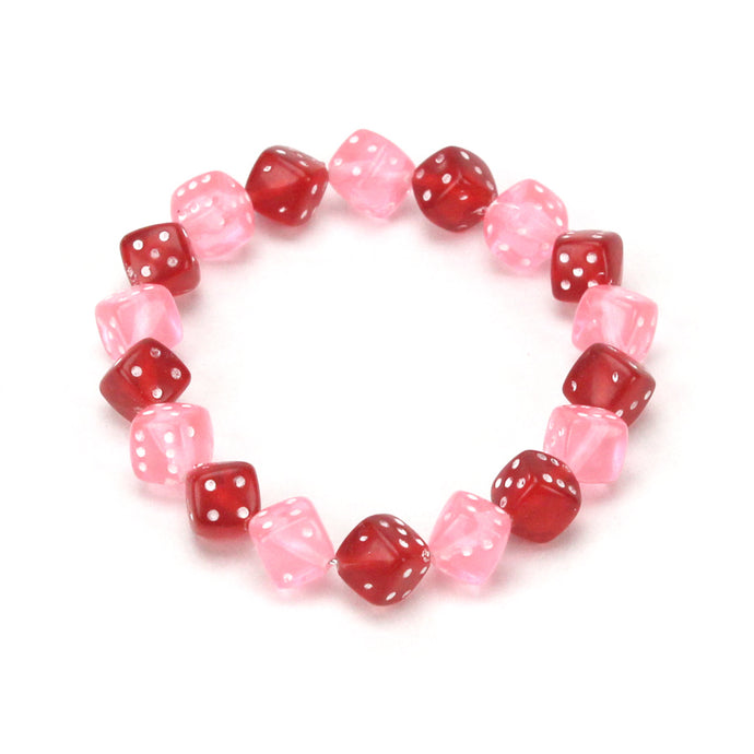 Pink and Red Dice Bracelet