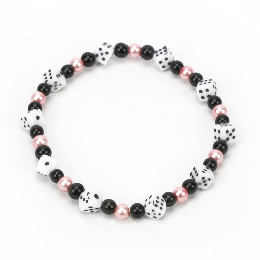 Pink, Black and White Mini Dice Bracelet