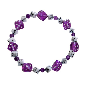 Purple & White Dice Bracelet