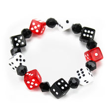 Load image into Gallery viewer, Red, Black and White Dice Bracelet