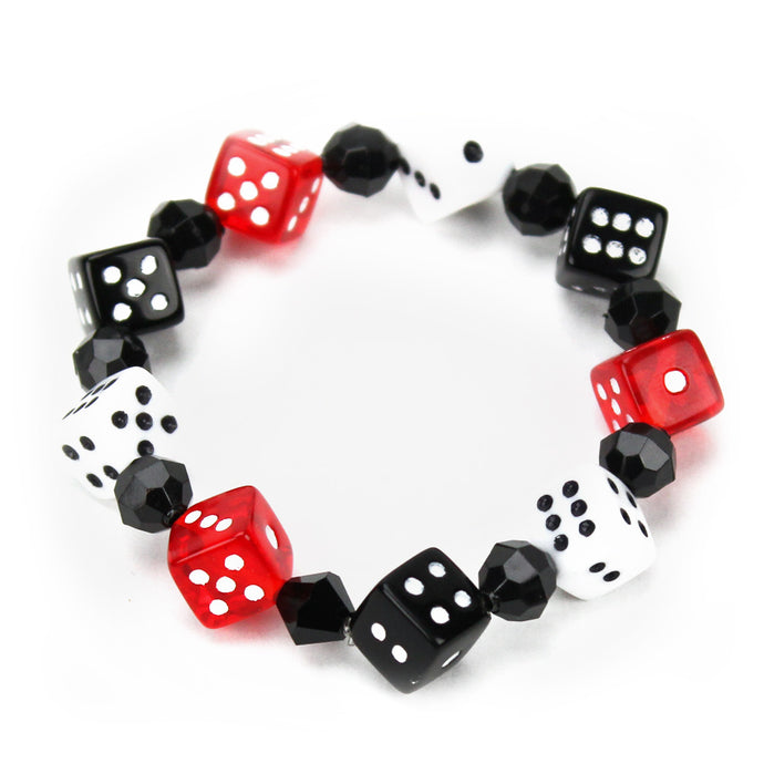 Red, Black and White Dice Bracelet