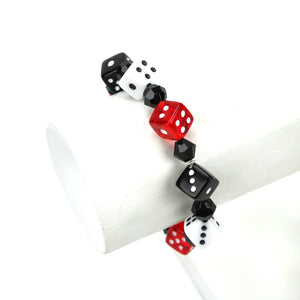 Red, Black and White Dice Bracelet, Side view