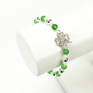 St. Patrick's Day Lucky Clover Charm Bracelet, Side view