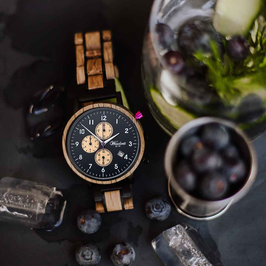 Chronograph GIN Black Berry  Holzband Herrenuhr