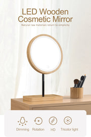 Natural Wood LED Touch Mirror