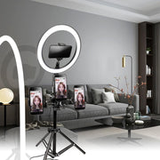 "Dimmable 10"" Selfie Ring Light with 3 Cell Phone Holders"
