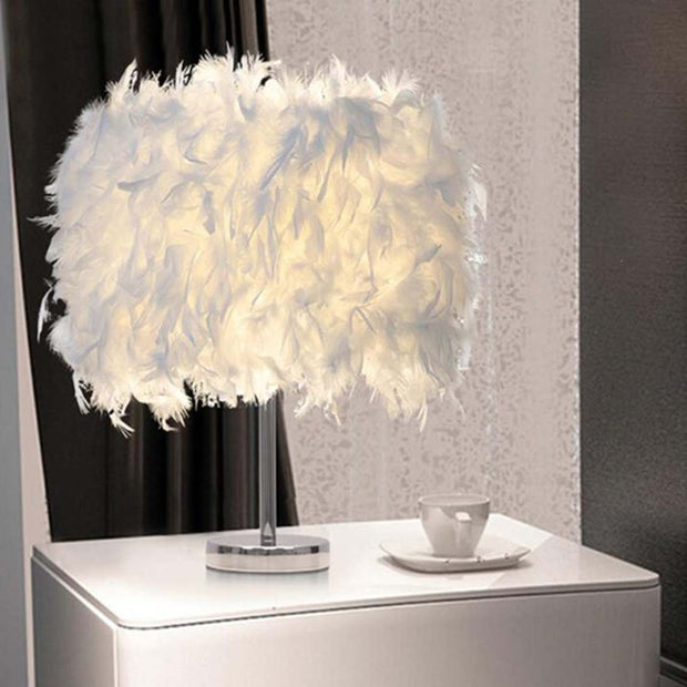 Faux Feathered Night Shade Lamp