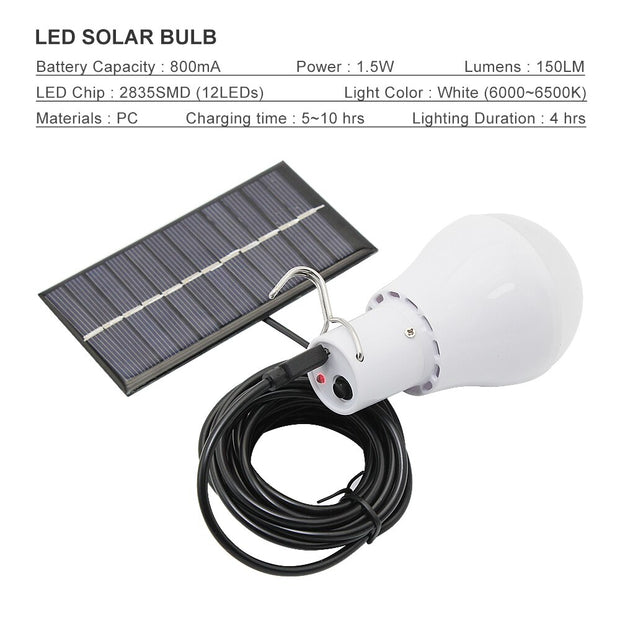 Solar LED Camping Light Bulb