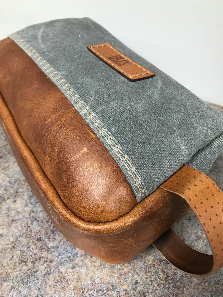 waxed canvas and leather mens shaving bag