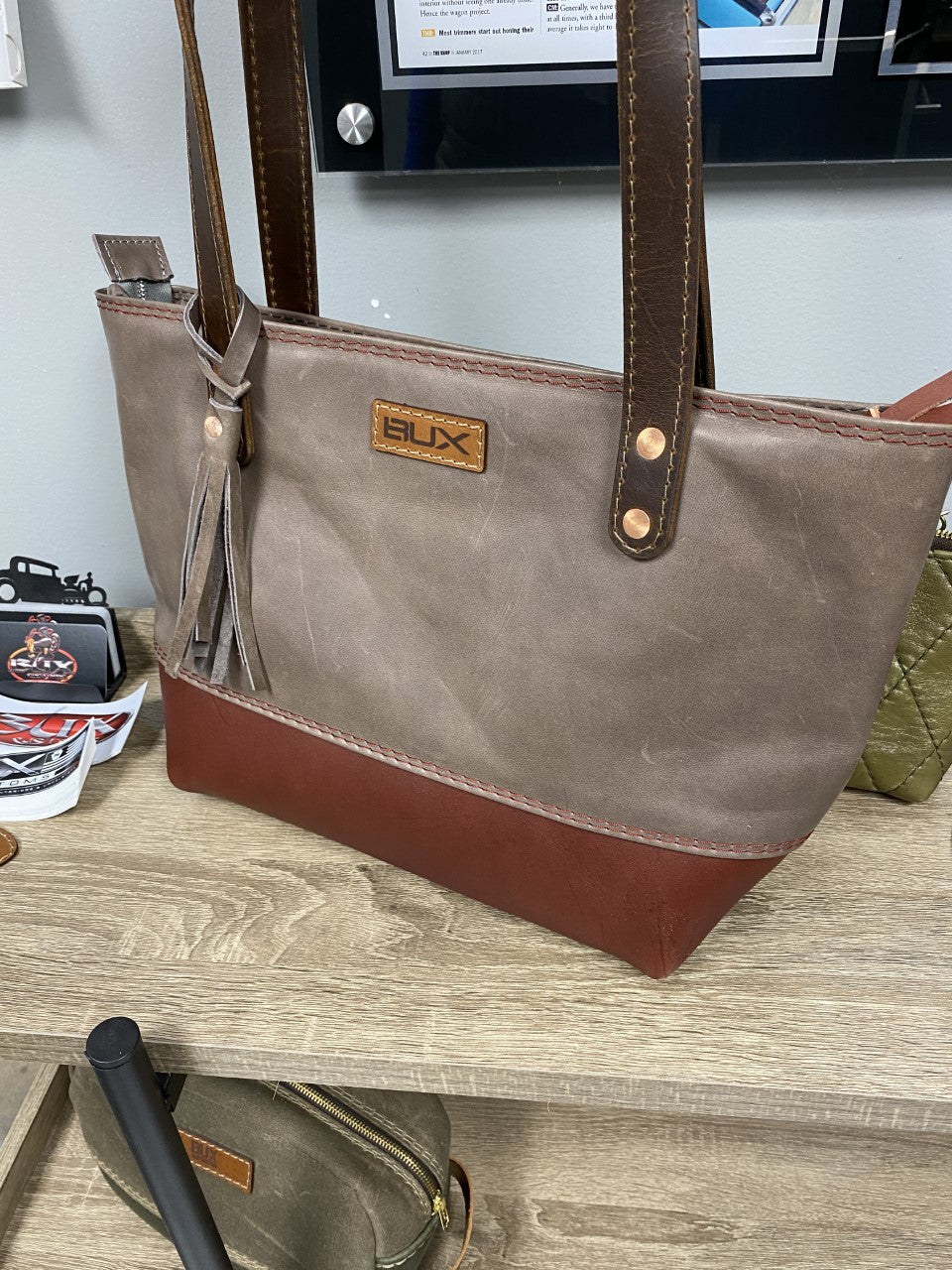 Bux Fossil Gray Zipper Tote