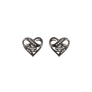Ruthenium Plated Infinity Thorn Heart Post Earrings