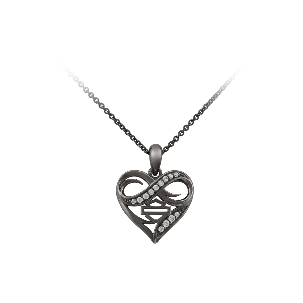 Ruthenium Plated Infinity Thorn Heart Necklace