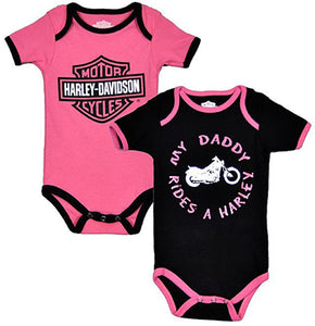 "Harley-Davidson ""My Daddy Rides""Infant Bodysuits Twin Pack"
