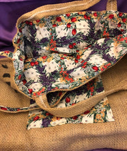 Load image into Gallery viewer, Handmade Reuseable burlap Market Bag.  Surdy and Reversable