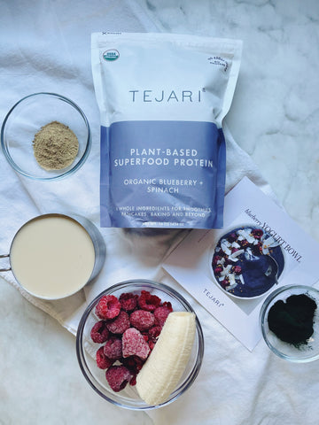Tejari ingredients for blueberry smoothie bowl including coconut, raspberries, banana, and organic Terjari blend