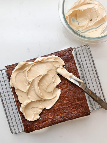 carrot snacking cake with frosting