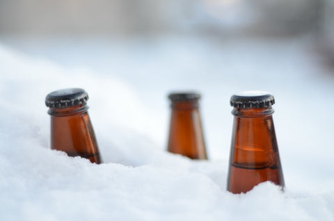 Beers chilling in snow