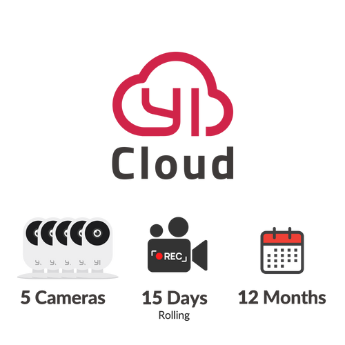 YI Cloud - 5 cameras – 15 days rolling – 12 months