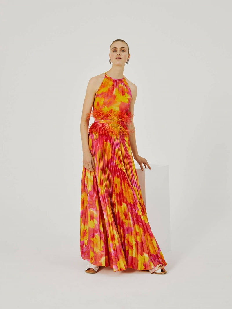 BEATRICE WATERCOLOUR PRINT PLEATED DRESS