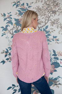 Pink Crochet Knit Jumper