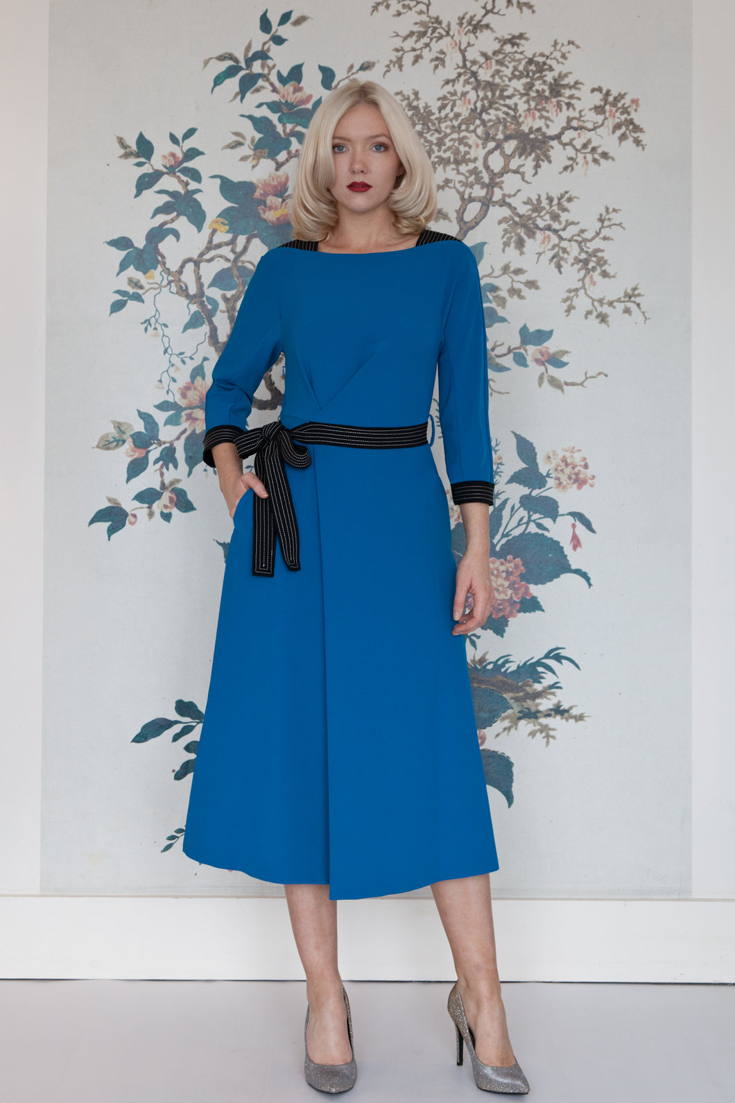 Beatrice B Blue Midi Dress with Black Ribbon Dropping