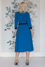 Load image into Gallery viewer, Blue Midi Dress with Black Ribbon Dropping