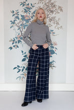 Load image into Gallery viewer, Navy & Cream Check Print Palazzo Pants