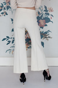 Cream  Cropped Flared Trousers