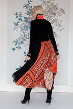 Load image into Gallery viewer, Black & Orange Soleil Pleated Skirt