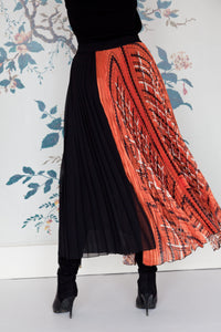 Black & Orange Soleil Pleated Skirt