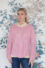 Load image into Gallery viewer, Pink Crochet Knit Jumper