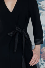 Load image into Gallery viewer, Classic Black Crepe Dress with side tie belt