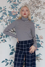 Load image into Gallery viewer, Navy & Soft White Stripe Polo-Neck