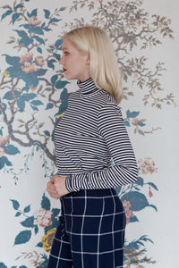 Navy & Soft White Stripe Polo-Neck
