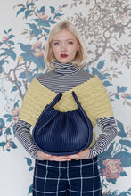 Load image into Gallery viewer, Navy Pleated Handbag