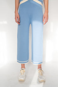 WILD PONY BLUE KNITTED CULOTTES WITH CONTRASTING TRIM