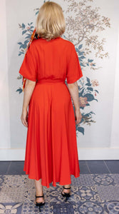 Red Silk  Midi Dress with Draping  Short Sleeve & Belt