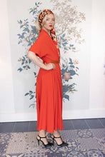 Load image into Gallery viewer, Red Silk  Midi Dress with Draping  Short Sleeve & Belt