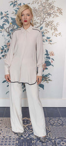 Stone Silk Mix Classic Long Shirt with Black Trim