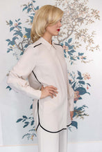 Load image into Gallery viewer, Stone Silk Mix Classic Long Shirt with Black Trim