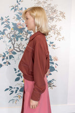 Load image into Gallery viewer, Bordeaux Crepe Bomber Jacket