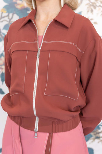 Bordeaux Crepe Bomber Jacket
