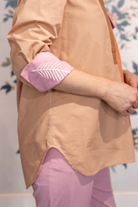 Neopolitan Cotton Shirt with embroidered cuff