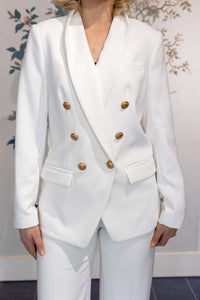 White Blazer with Brass Buttons