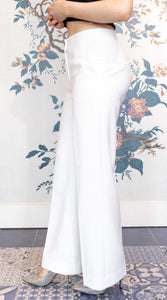 White Wide Leg  Suit Trousers