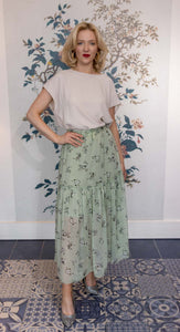 Apple Blossom Green Chiffon Gypsy Skirt