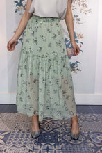 Load image into Gallery viewer, Apple Blossom Green Chiffon Gypsy Skirt