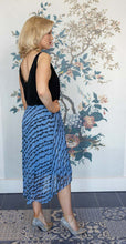 Load image into Gallery viewer, Accordian Pleated Blue & Black Print Skirt